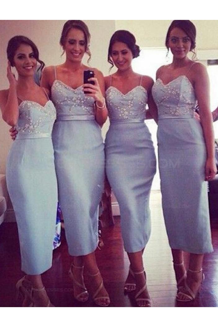 Tea Length Spaghetti Straps Wedding Guest Dresses Bridesmaid Dresses 3010246