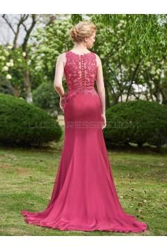 A-Line Lace Chiffon Long Wedding Guest Dresses Bridesmaid Dresses 3010248