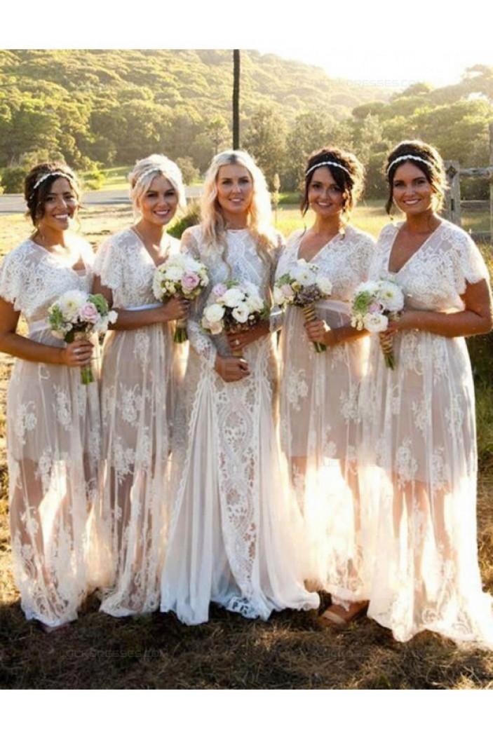 Short Sleeve Lace Long Wedding Guest Dresses Bridesmaid Dresses 3010249