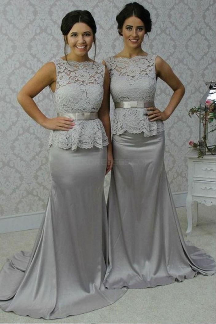 Long Silver Mermaid Lace Wedding Guest Dresses Bridesmaid Dresses 3010251