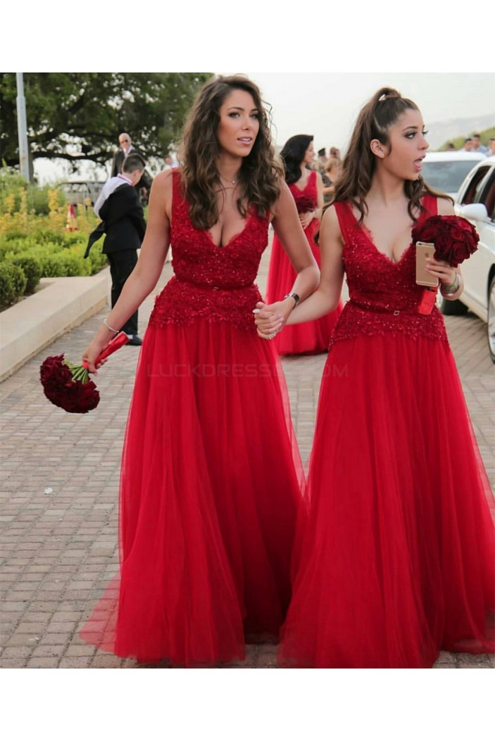 Long Red V-Neck Lace Wedding Guest Dresses Bridesmaid Dresses 3010253