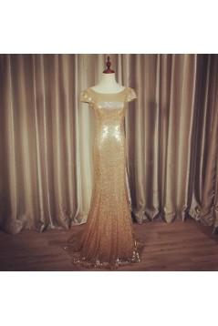 Mermaid Sequins Cap Sleeves Gold Wedding Guest Dresses Bridesmaid Dresses 3010264