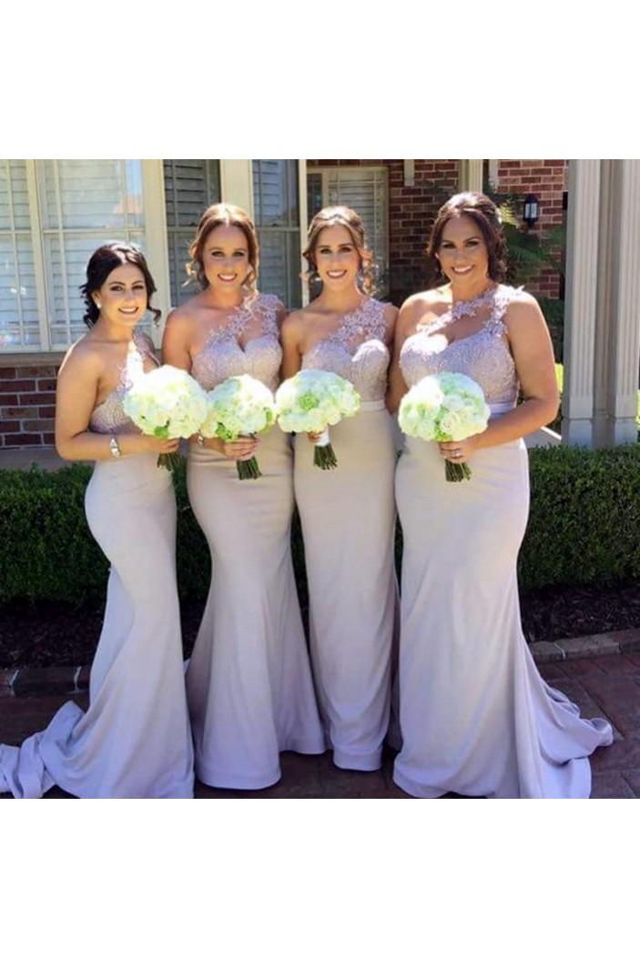 Mermaid One-Shoulder Lace Long Wedding Guest Dresses Bridesmaid Dresses 3010266