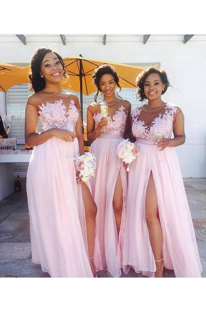 Long Pink Lace Appliques Chiffon Wedding Guest Dresses Bridesmaid Dresses 3010267