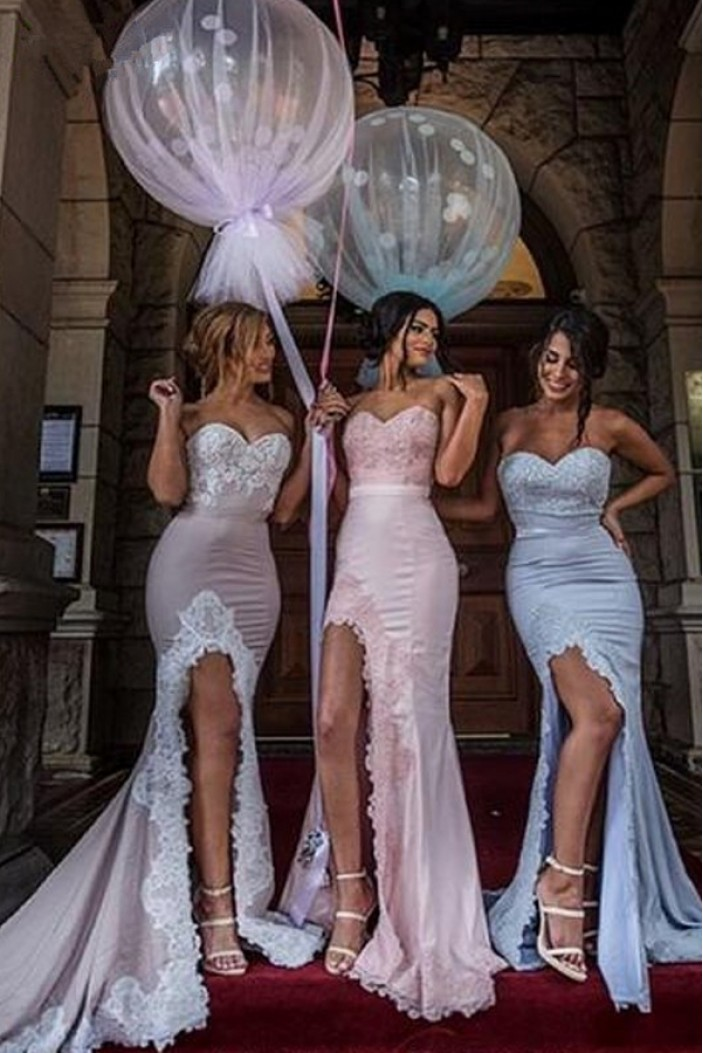 Mermaid Sweetheart Lace Long Bridesmaid Dresses 3010271