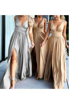A-Line Floor Length V-Neck Long Bridesmaid Dresses with Slit 3010280