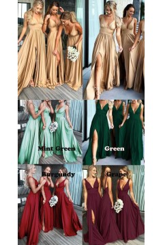 A-Line Floor Length V-Neck Long Blue Bridesmaid Dresses with Slit 3010281