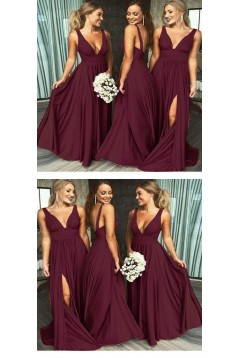 A-Line Floor Length V-Neck Long Blue Bridesmaid Dresses with Slit 3010281