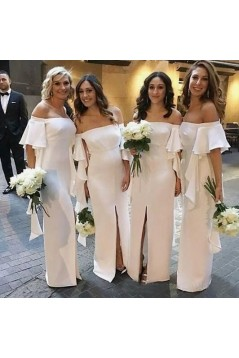 Long White Off-the-Shoulder Bridesmaid Dresses with Slit 3010286