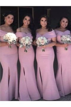 Mermaid Off-the-Shoulder Long Bridesmaid Dresses with Slit 3010292