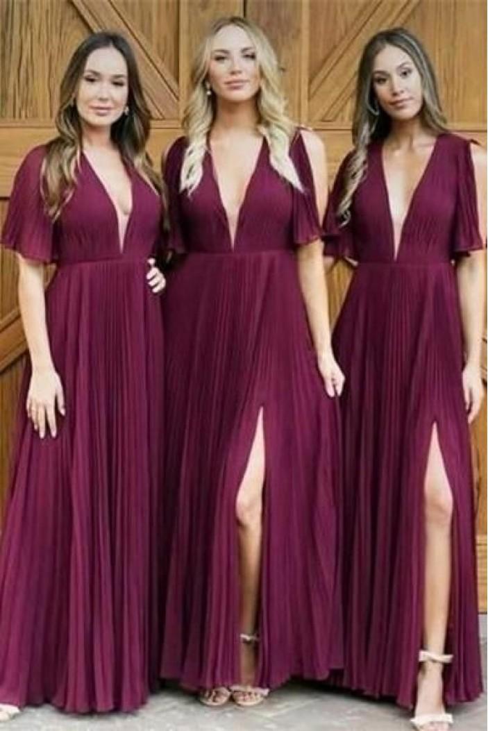 A-Line V-Neck Long Bridesmaid Dresses 3010294