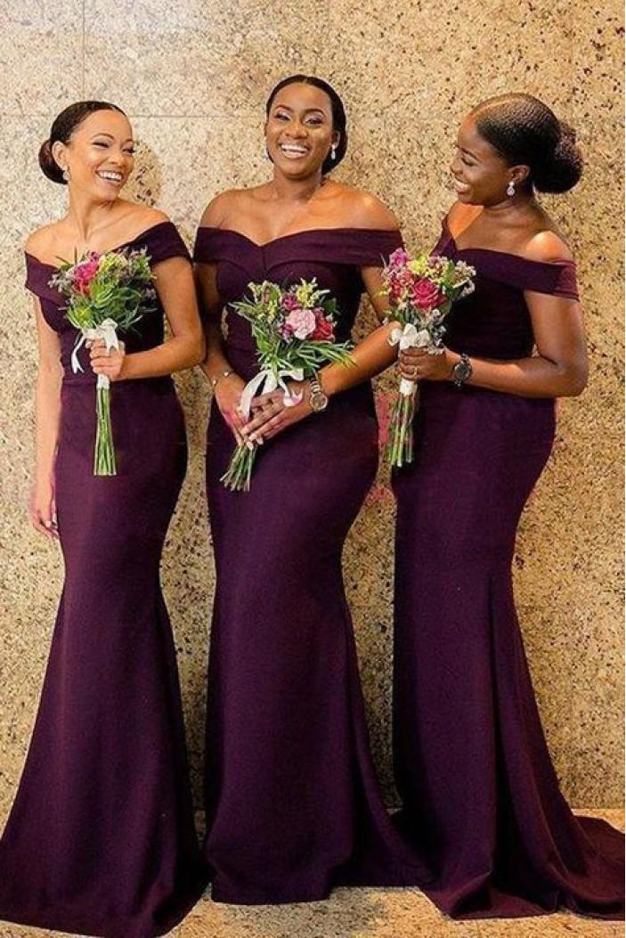 Elegant Mermaid Off-the-Shoulder Long Grape Bridesmaid Dresses 3010296