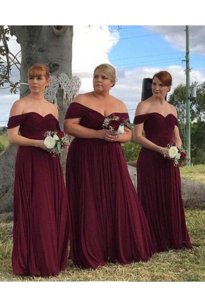 A-Line Off-the-Shoulder Plus Size Long Bridesmaid Dresses 3010297