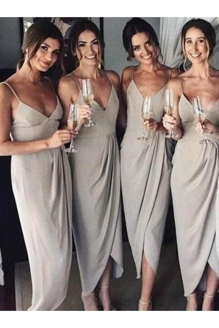 Simple Spaghetti Straps V-Neck Bridesmaid Dresses 3010298