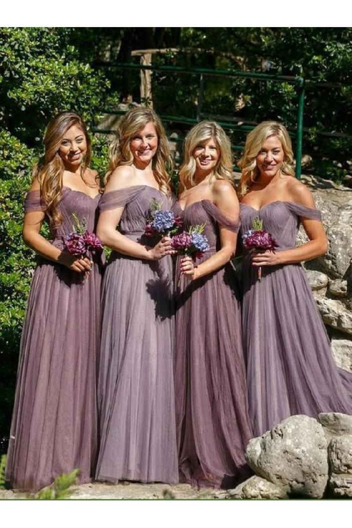 A-Line Off-the-Shoulder Long Bridesmaid Dresses 3010299
