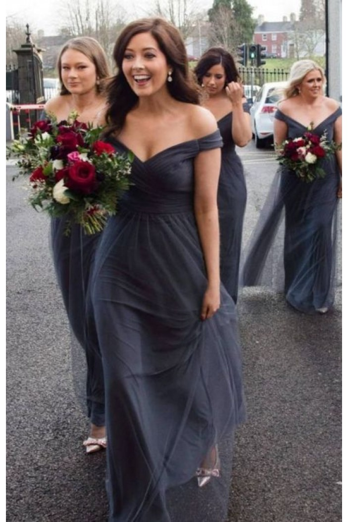 A-Line Off-the-Shoulder Long Bridesmaid Dresses 3010300