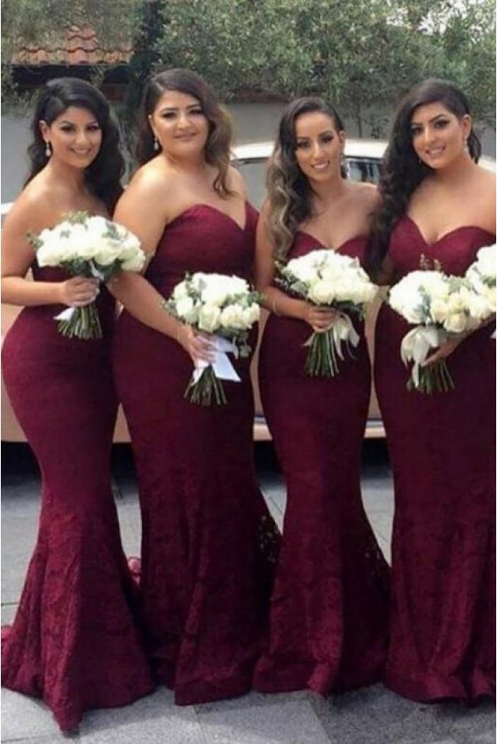 Mermaid Lace Sweetheart Long Bridesmaid Dresses 3010302