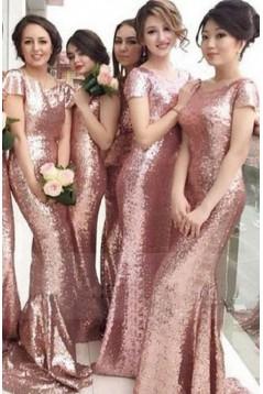 Mermaid Sequins Long Bridesmaid Dresses 3010303