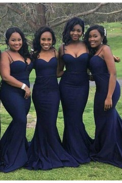 Mermaid Spaghetti Straps Navy Blue Long Bridesmaid Dresses 3010305