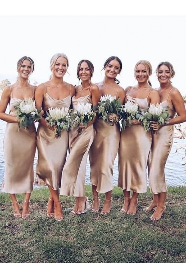Simple Spaghetti Straps Long Bridesmaid Dresses 3010308
