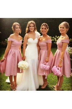 A-Line Short Off-the-Shoulder Bridesmaid Dresses 3010314