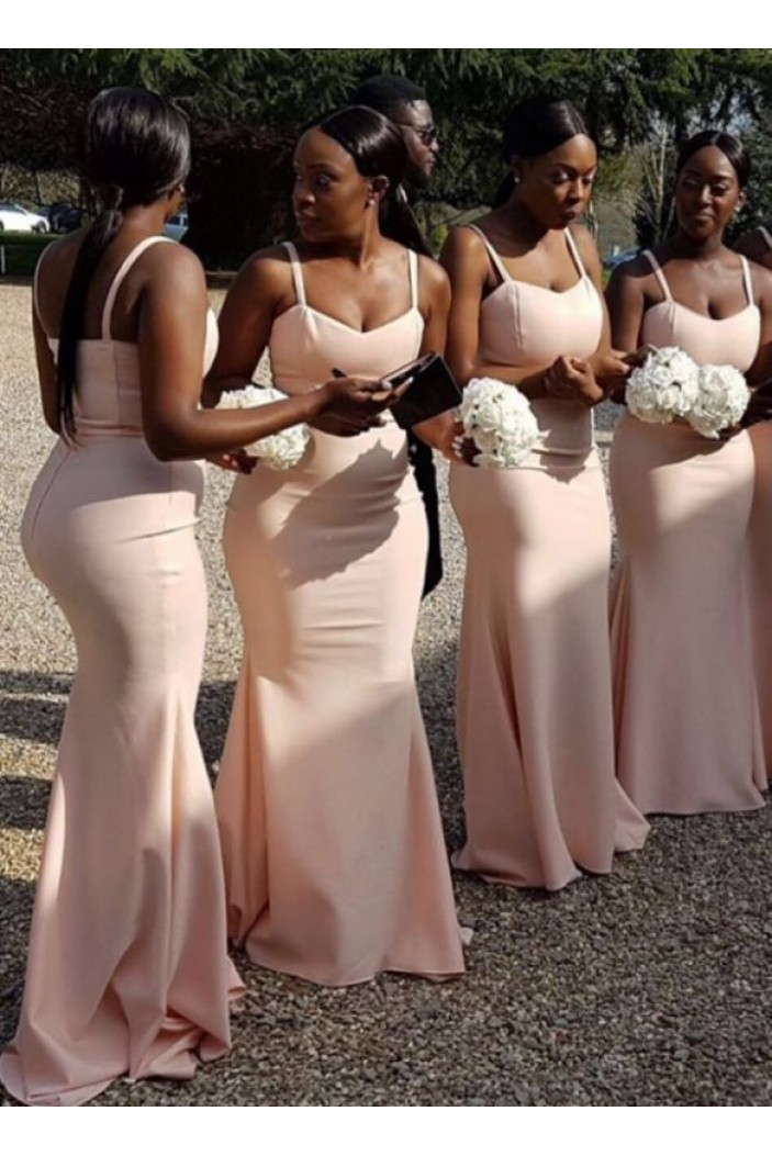 Mermaid Simple Spaghetti Straps Long Bridesmaid Dresses 3010316