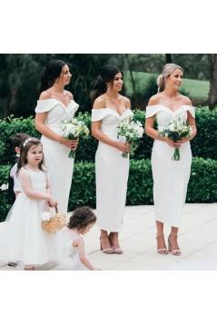 Sheath Off-the-Shoulder Bridesmaid Dresses 3010321