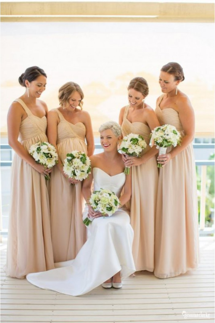 A-Line One-Shoulder Empire Chiffon Long Bridesmaid Dresses Maternity Dresses 3010323