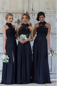 A-Line Lace Navy Blue Long Bridesmaid Dresses 3010325