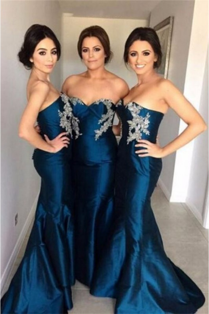 Mermaid Sweetheart Long Bridesmaid Dresses with Lace Appliques 3010327