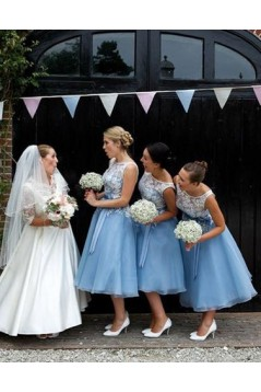 A-Line Lace Long Bridesmaid Dresses 3010328
