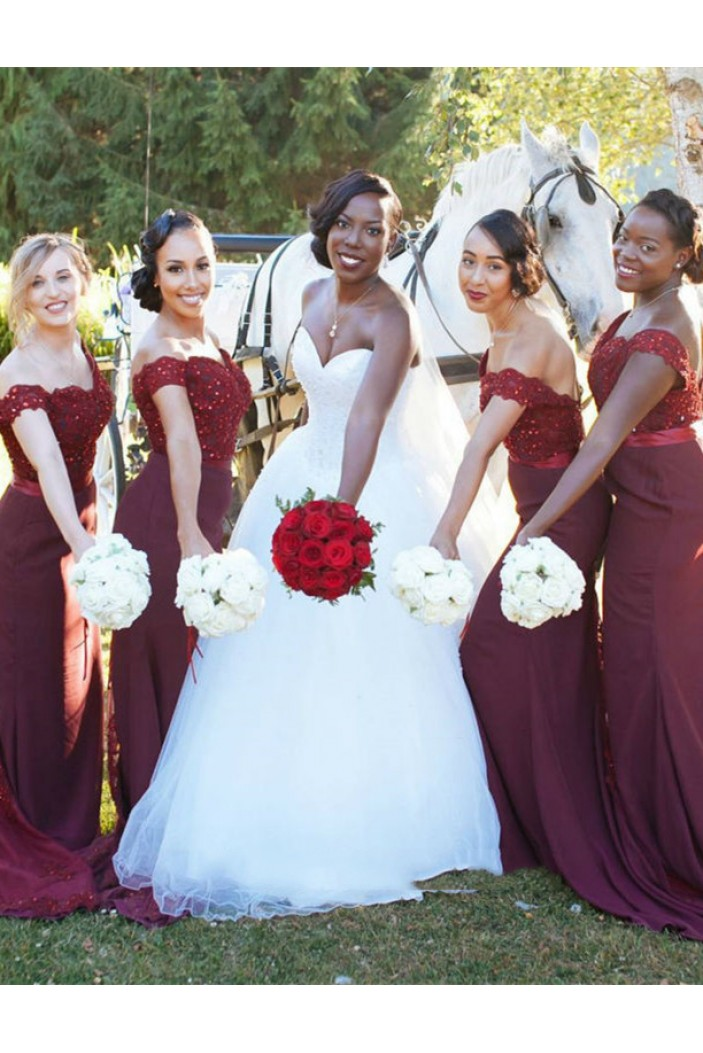 Lace Off-the-Shoulder Bridesmaid Dresses 3010329