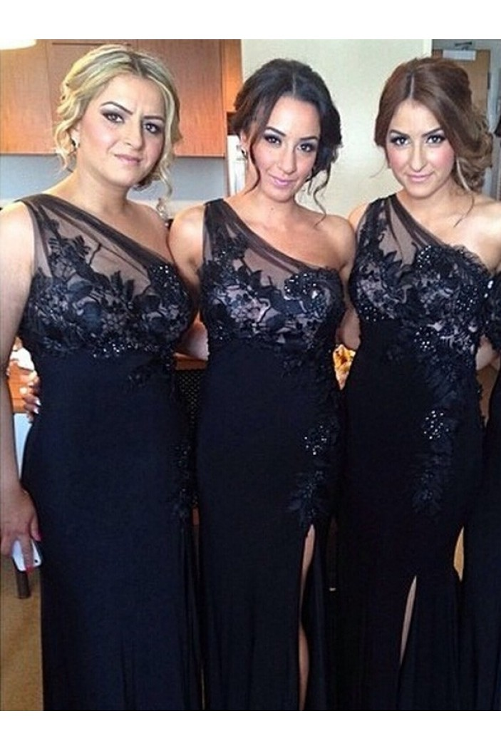 Sheath Off-the-Shoulder Navy Blue Long Bridesmaid Dresses 3010330