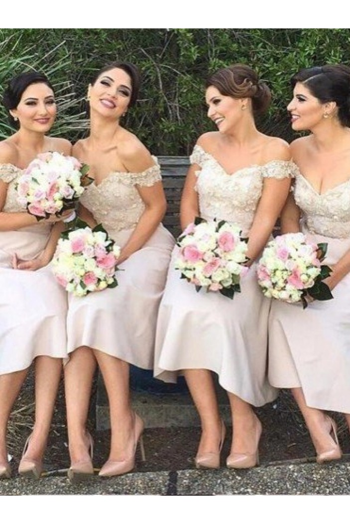 A-Line Lace Off-the-Shoulder Bridesmaid Dresses 3010332