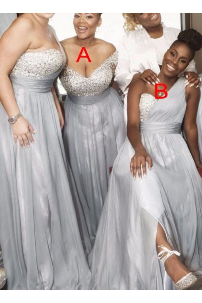 A-Line Beaded One-Shoulder Plus Size Long Bridesmaid Dresses 3010334