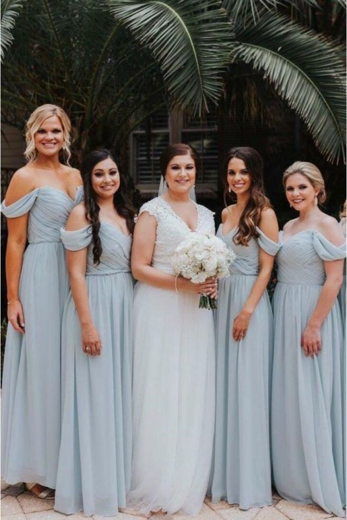 A-Line Chiffon Off-the-Shoulder Long Bridesmaid Dresses 3010335
