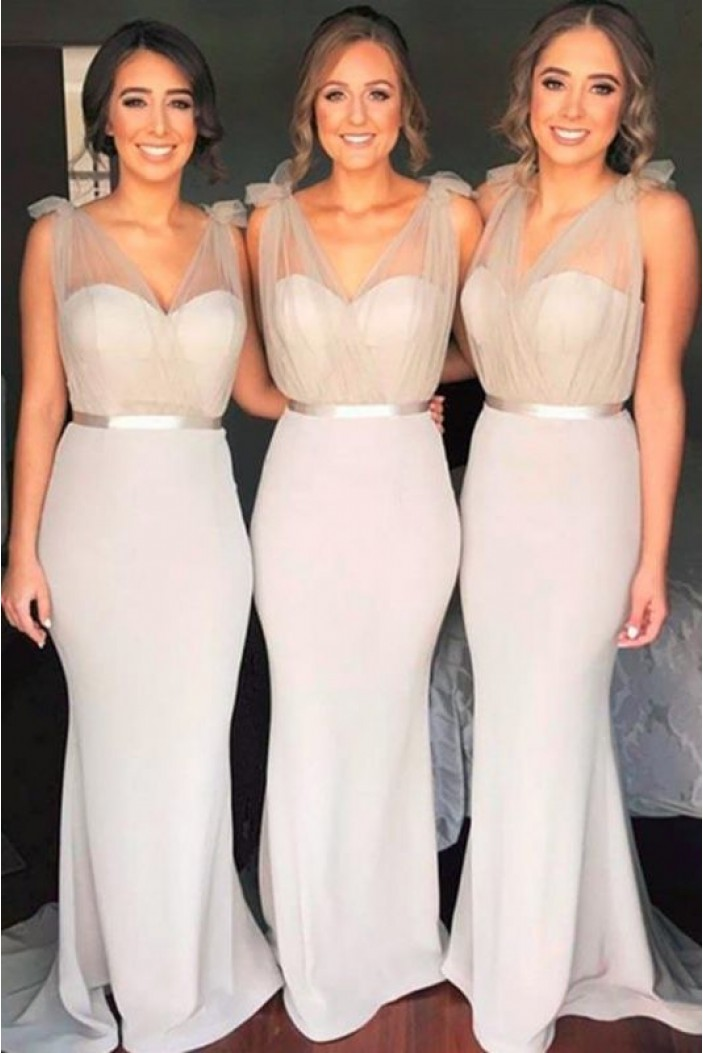Mermaid V-Neck Long Bridesmaid Dresses 3010336