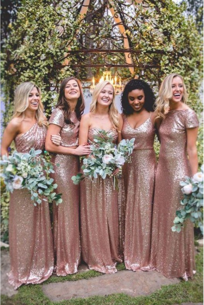 Affordable Sequins Long Bridesmaid Dresses 3010338