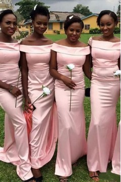 Mermaid Long Pink Off-the-Shoulder Bridesmaid Dresses 3010342