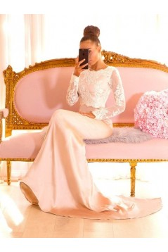 Mermaid Lace Long Sleeves Long Bridesmaid Dresses 3010344