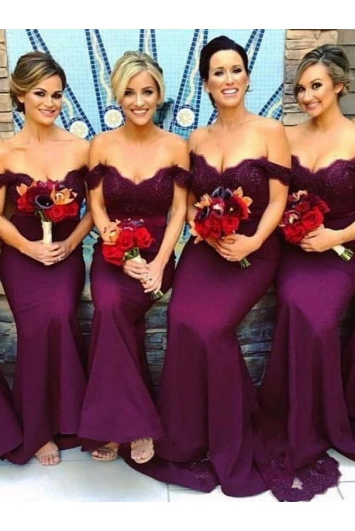 Mermaid Off-the-Shoulder Long Grape Bridesmaid Dresses 3010346