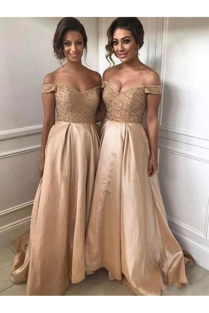 A-Line Beaded Off-the-Shoulder Long Bridesmaid Dresses 3010347
