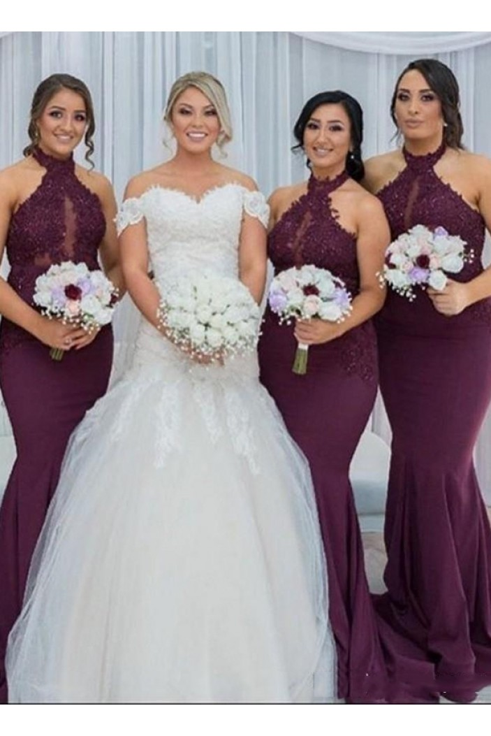 Mermaid Lace Long Grape Bridesmaid Dresses 3010348