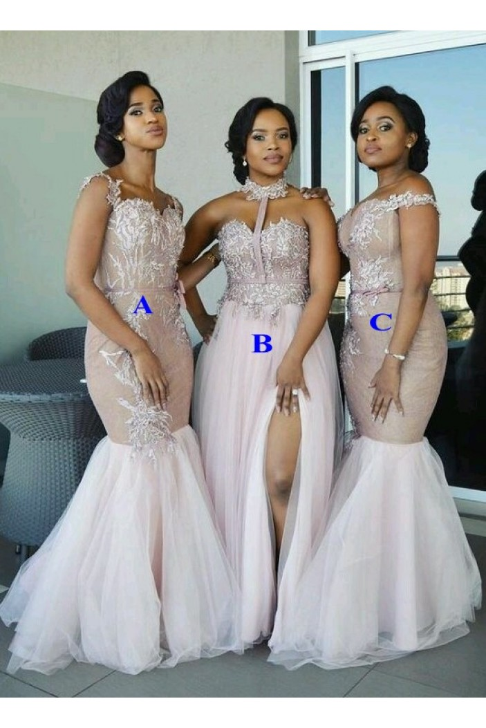 Long Lace and Tulle Bridesmaid Dresses 3010349