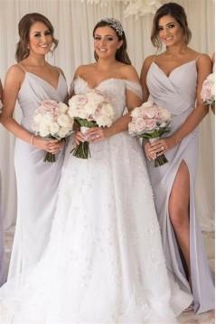 Sheath Spaghetti Straps Long Bridesmaid Dresses with Slit 3010355