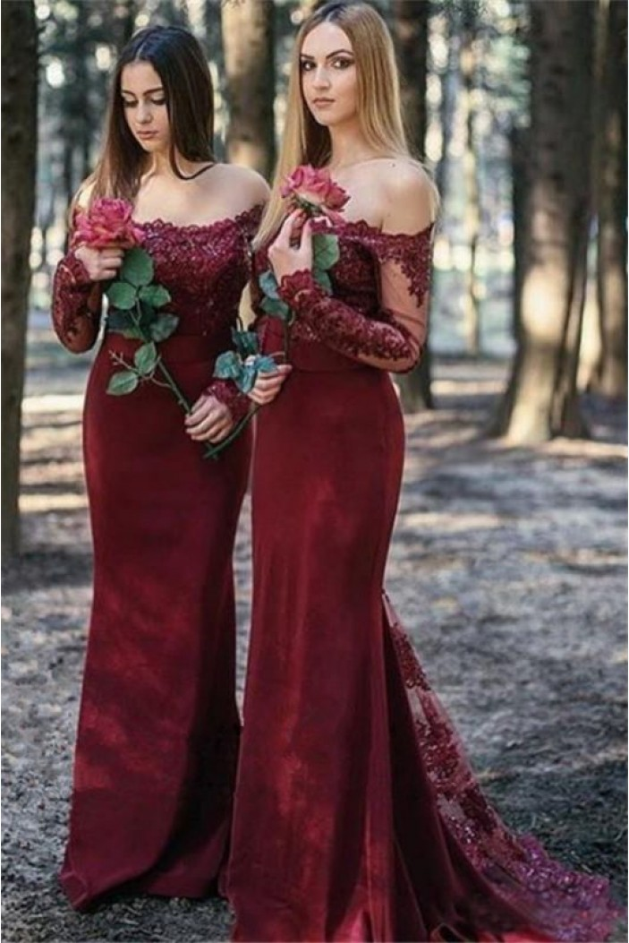 Mermaid Long Sleeves Lace Long Bridesmaid Dresses 3010356
