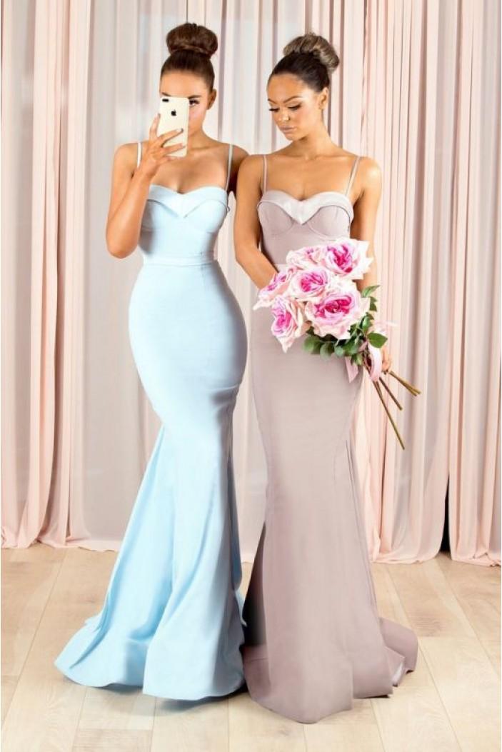 Mermaid Spaghetti Straps Long Bridesmaid Dresses 3010359