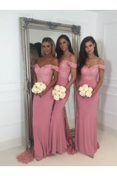 Mermaid Off-the-Shoulder Lace Long Bridesmaid Dresses 3010360