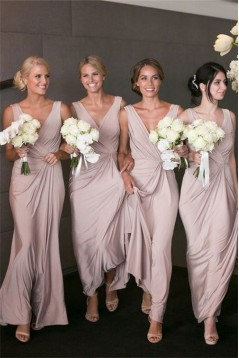 Sheath/Column V-Neck Long Bridesmaid Dresses 3010362