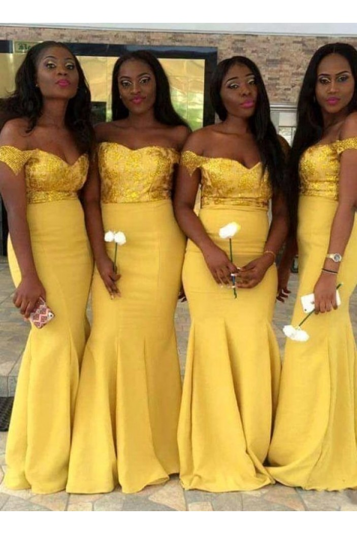 Mermaid Off-the-Shoulder Long Bridesmaid Dresses 3010363